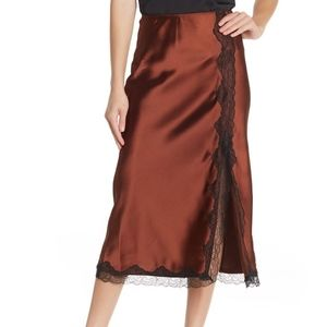 Topshop Lace Trim Satin Bias Midi Skirt - NWT